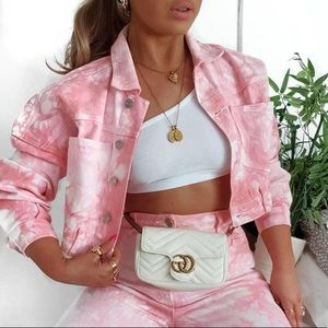 Missguided Pink Tie Dye Co Ord Jacket & Shorts Set
